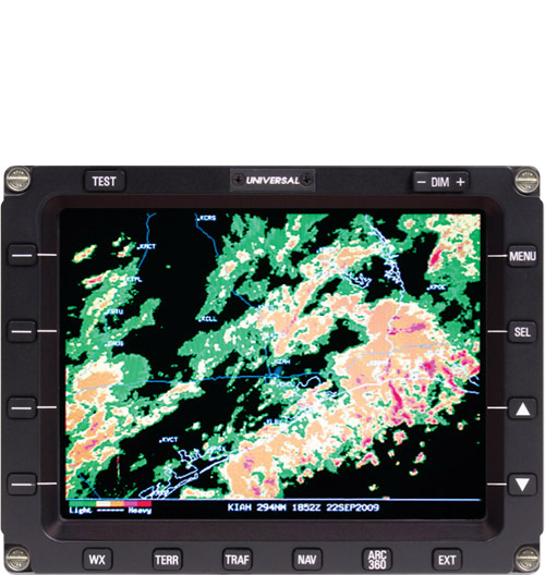 Hi-Res Weather graphics displayed on an MFD-640 Multi-Function Display Unit.