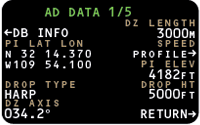 On Data Page 1, the operator can enter Point of Impact     location, aircraft speed profiles related to the Air Release     Point and edit other drop profile parameters.
