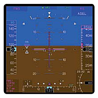 Full Primary Flight Display with Cross     Pointer Overlay and Low Altitude Mode