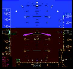Full Primary Flight Display Mode         with V-Bar Overlay