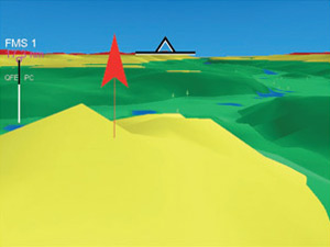 3-D View - A close distance obstacle that extends     above the aircraft altitude.
