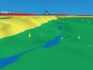 3D View - Obstacles displayed in different colors     according to their relative altitudes to the aircraft.