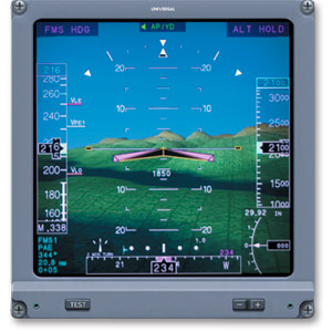 SVS Egocentric View displayed on an EFI-890R Primary Flight Display